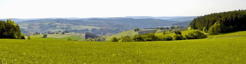 Blick über die grünen Hügel des Spessart bei Aura im Sinngrund