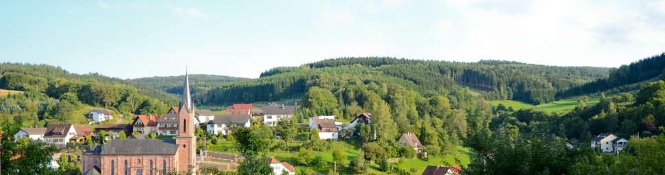 Blick auf Fellen mit Buntsandstein-Kirche und Rienecker Tal