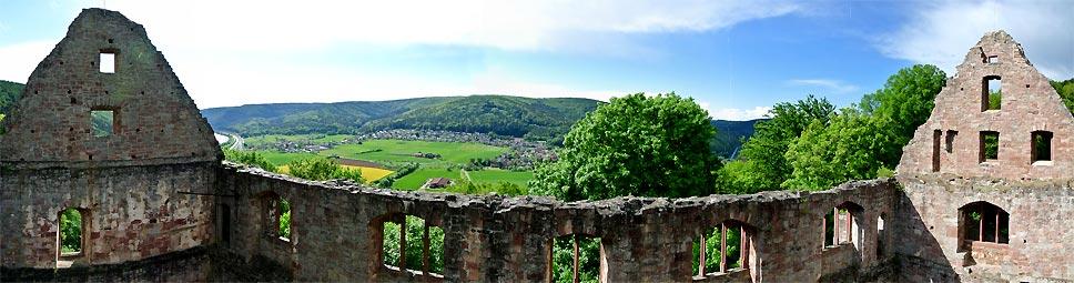 Blick von der Burg Schönrain ins Maintal