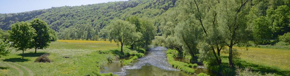 Blick in das Tal der Fränkischen Saale bei Schonderfeld