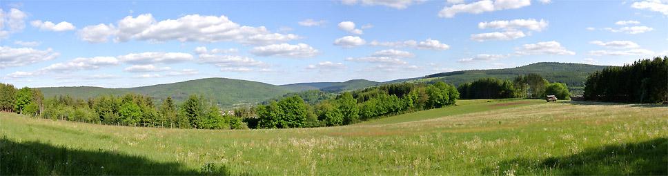 Blick vom Fellenberg/ Rieneck über den Sinngrund ins Maintal