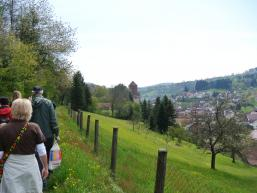 Wandergruppe auf dem Wanderweg zur Burg