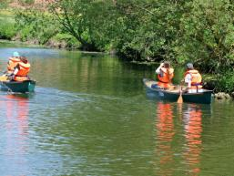 Kanuidyll auf dem Wasser der Fränkischen Saale