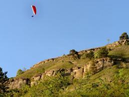 Gleitschirmfliegen im Maintal bei Gambach