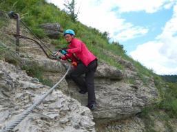 Klettern wie in den Alpen auf dem Klettersteig im Spessart