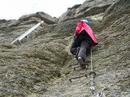 Klettern im Maintal an den Felswänden über dem Main