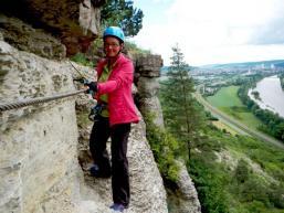 Klettern hoch über dem Maintal bei Karlstadt