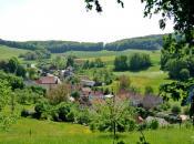 Blick auf Weickersgrüben an der Fränkischen Saale